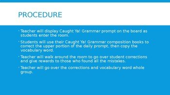 Caught 'Ya Grammar Daily Prompt PPT