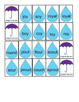 Caught in the Rain -oi, -oy, -ou, -ow, -aw, -au Phonics Game