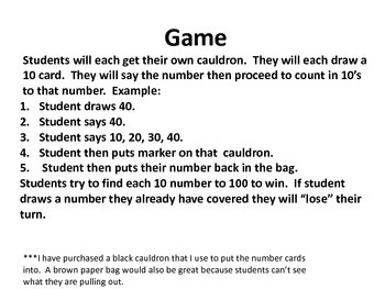 Cauldron Counting in 10's to 100