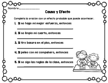 Cause and Effect (SPANISH Activities) Causa y Efecto-DUAL LANGUAGE/BILINGUAL