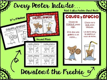 Causa y Efecto Carteles/Posters Anchor Chart Parts