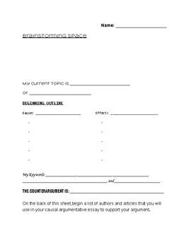 Causal Argumentative Essay Brainstorming Cause Effect Planning Sheet