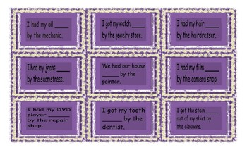 Causative Form of Verbs Cards