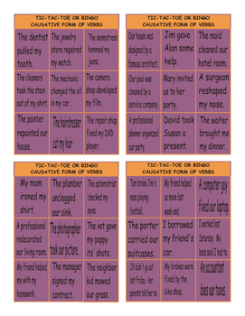 Causative Form of Verbs Tic-Tac-Toe or Bingo
