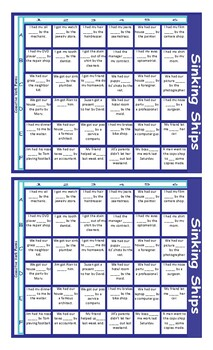 Causative Forms of Verbs Battleship Board Game