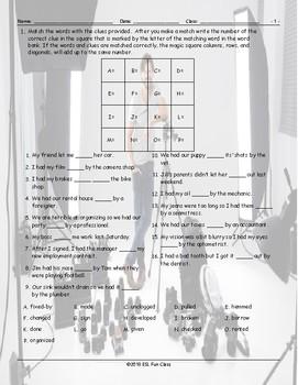 Causative Verb Forms Magic Square Worksheet