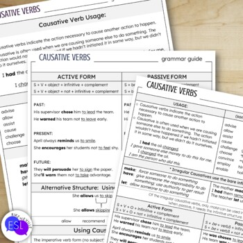 Causatives:  Grammar Guide and Worksheets