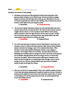 Cause & Effect Compare & Contrast Text structure review