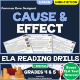 Cause & Effect Informational Texts: Reading Comprehension Worksheets GRADE 4 & 5