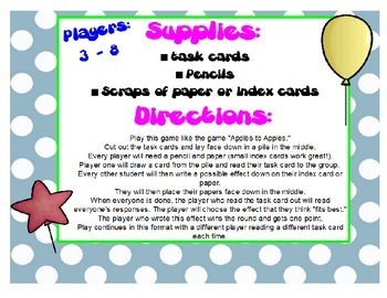 """Cause & Effect Game Activity """"Apples to Apples"""" ~ 3rd, 4th, 5th Grade ELA CCSS"""