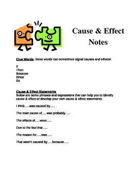 Cause & Effect Handout for Notebooks