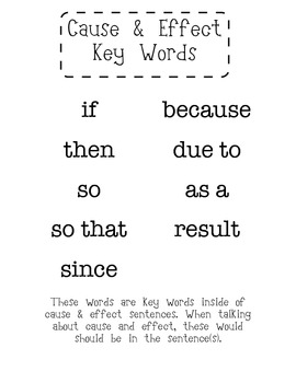 Cause & Effect Keywords