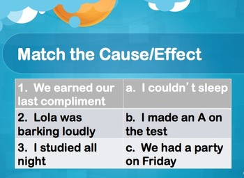 Cause & Effect: Leveled Practice Sheets with PowerPoint Lesson