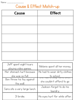Cause & Effect Match-up Set