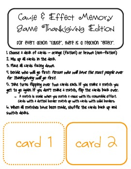 Cause & Effect Memory Game - Thanksgiving Edition