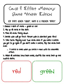 Cause & Effect Memory Game - Winter Edition
