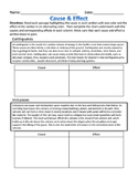 Cause & Effect - Natural Disasters Nonfiction, Worksheet &