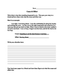 Cause & Effect Worksheet- Personal Story