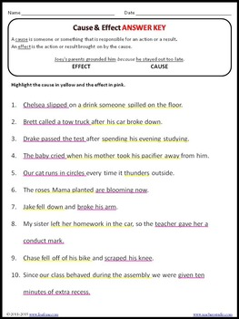 Cause & Effect Worksheet with Answer Key