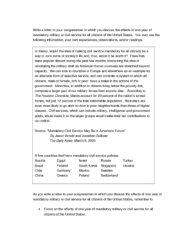 Cause Effect essay prompt on mandatory civil service