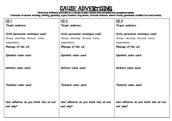 Cause advertising worksheet