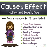 Cause and Effect PowerPoint, Task Cards, Passages and Activities