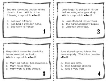Cause and Effect Activities | Cause and Effect Task Cards