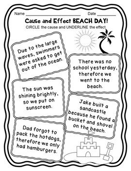 Cause and Effect Activities, Task Cards, Matching, Flip Books, Worksheets