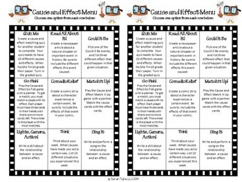 Cause and Effect Choice Board (Common Core Aligned)