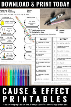 Cause And Effect Activities Special Education Reading