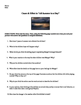 """Cause and Effect """"All Summer in a Day"""" Ray Bradbury Worksheet"""