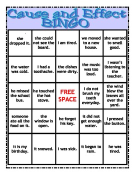 Cause and Effect BINGO!