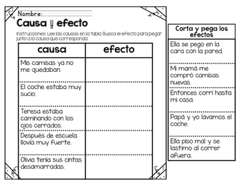 Cause and Effect Bilingual Unit Freebie