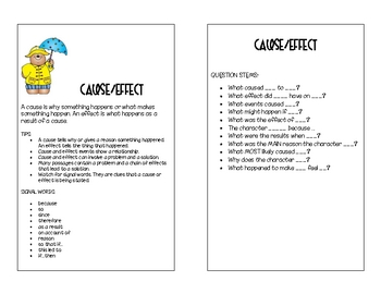 Cause and Effect Bookmark or Journal Insert