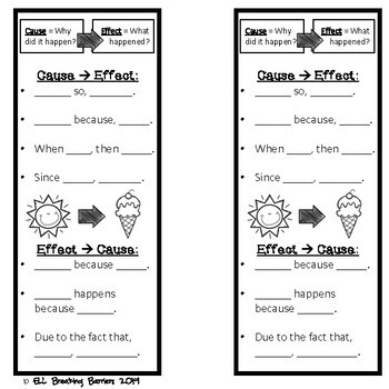 Cause and Effect Bookmarks, ELL Friendly, FREEBIE