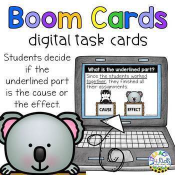 Cause and Effect Boom Cards (Digital Task Cards) for 2nd and 3rd Graders