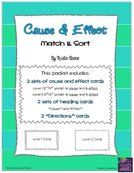 Cause and Effect Cards - Match & Sort