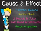 Cause and Effect Unit Search & Color Close Read, Games, Po