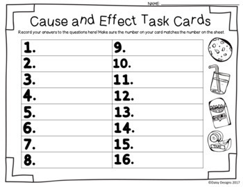 Cause and Effect Centers and Printables