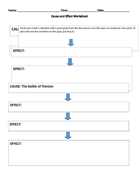 Cause and Effect Chart - American Revolution