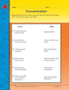 Cause and Effect--Concentration Literacy Center (eLesson)