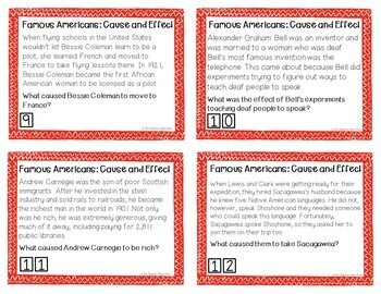 Cause and Effect: Famous Americans Task Cards for 3rd - 5th Grade