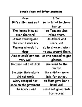 Cause and Effect Game Cards