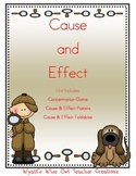 Cause and Effect Game with Graphic Organizers and Posters