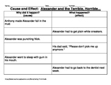 Cause and Effect Graphic Organizer: Alexander and the Terrible, Horrible