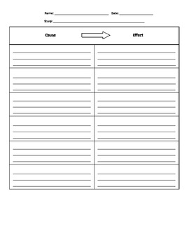 Cause and Effect Graphic Organizer - Intermediate Elementary School Grades