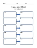 Cause and Effect Graphic Organizer Note-Taking Sheet