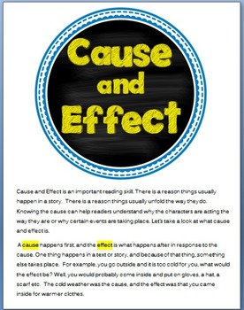 Cause and Effect Practice Packet. Matches Common Core