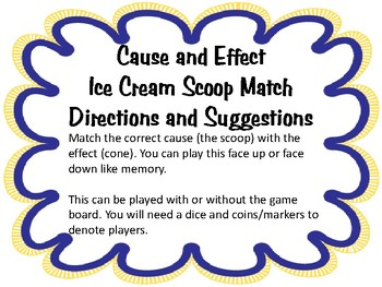 Cause and Effect Ice Cream Scoop Game Matching Activity