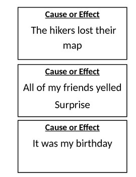 Cause and Effect Interactive Matching Game